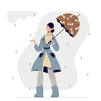 우산 아래 빗 속에서 걷는 귀여운 만화 세련된 여자.