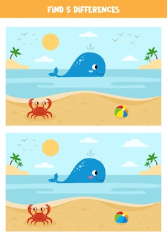 Cute cartoon summer seascape with whale, crab and toy ball.