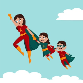 Cute cartoon super mom and daughter and son