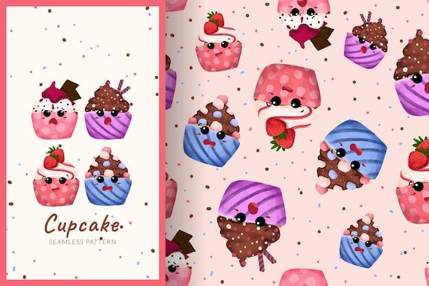 さまざまな味のシームレスなパターンのイラストとかわいい漫画の甘いカップケーキ