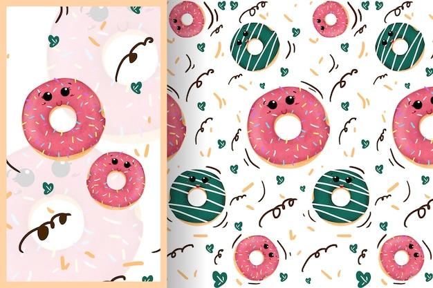 Милый мультфильм сладкие пончики с различными вкусами бесшовные модели иллюстрации Premium векторы