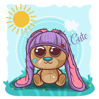 Cute cartoon teddy bear boy with bunny hat - vector
