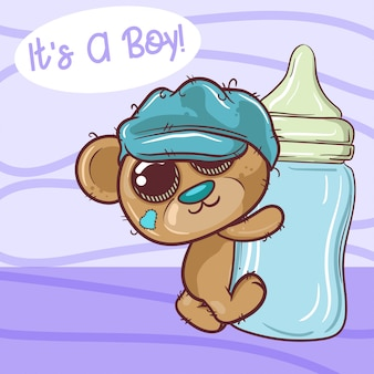 Cute cartoon teddy bear boy with feeding bottle - vector