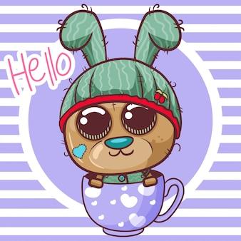 Cute cartoon teddy bear is flying on a cup - vector