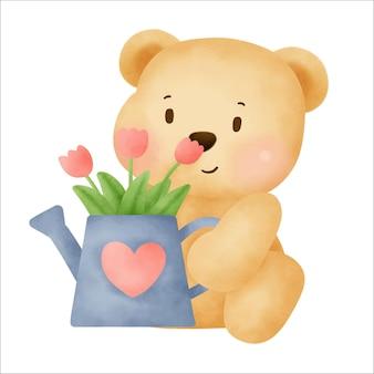 귀여운 만화 곰 수채화 손 그리기