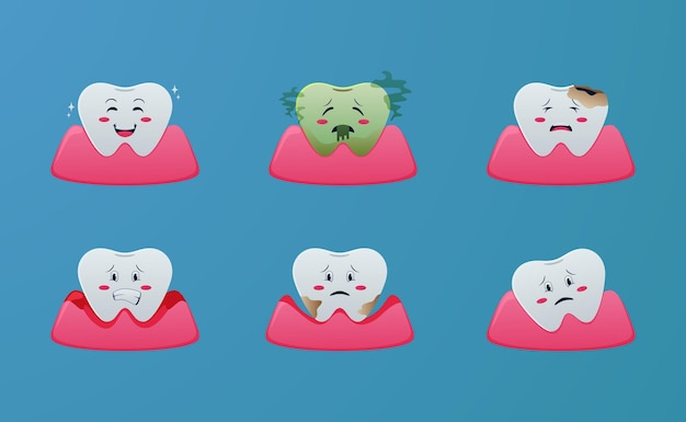 Cute cartoon teeth disease problem, gingivitis, periodontitis, bad breath, calculus, caries, illustration concept with blue background for dentist