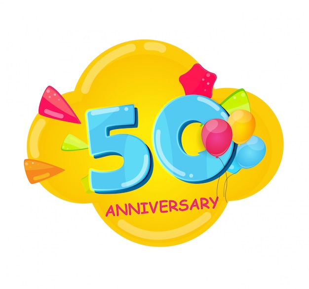 Cute cartoon template 50 years anniversary