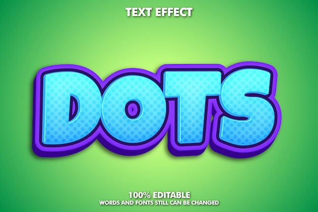 Cute cartoon text effect with dots pattern