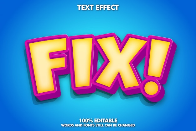 Cute cartoon text effect with inner glow