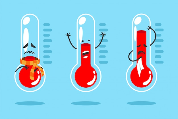 Cute cartoon thermometer with different emotions