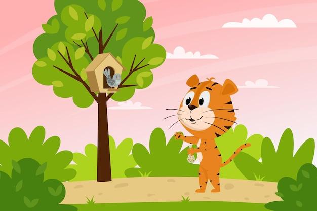 Милый мультяшный тигр кормит птицу в лесу. весенний пейзаж. животный персонаж.