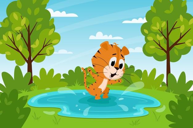 水たまりにジャンプしたり、湖で泳いだりするかわいい漫画の虎。夏の風景。動物のキャラクター。