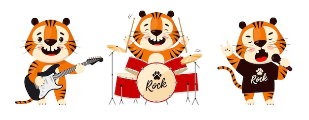 Cute cartoon tiger playing in rock band symbol of 2022 year of the tiger
