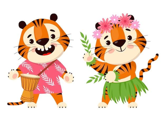 귀여운 만화 호랑이는 북을 연주하고 하와이 훌라 춤을 춥니다. 호랑이의 해 상징