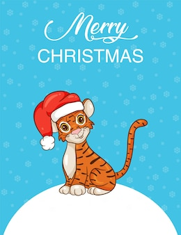 Cute cartoon tiger in santa hat. symbol of the year according to the chinese calendar. christmas card. vector illustration