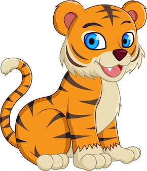 Cute cartoon tiger sitting isolated