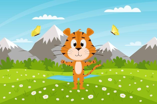 귀여운 만화 호랑이는 산과 하늘을 배경으로 들판에 서 있습니다. 여름 풍경