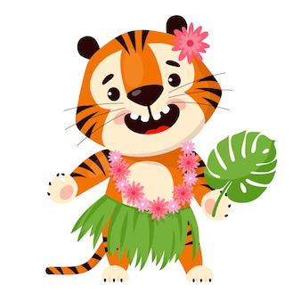 Cute cartoon tiger in traditional hawaiian skirt and floral wreath symbol of year of the tiger