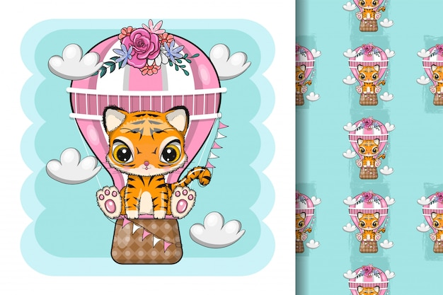 Cute cartoon tiger with air balloon