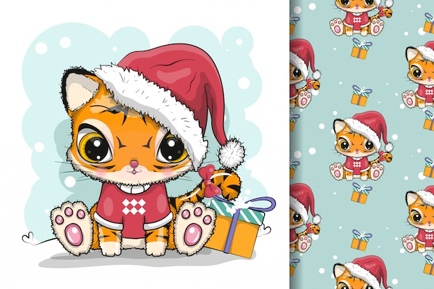 Cute cartoon tiger with christmas custom