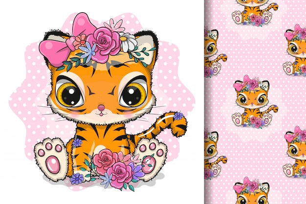 Cute cartoon tiger with flowers