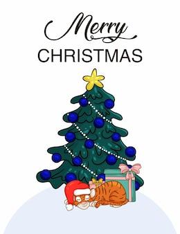 Милый мультяшный тигр с подарком в шляпе санты, рядом с елкой. символ года по китайскому календарю. рождественская открытка. векторная иллюстрация