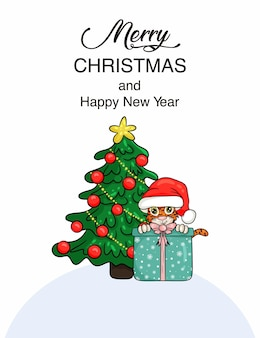 Cute cartoon tiger with gift in santa hat, next to a christmas tree. symbol of the year according to the chinese calendar. christmas card. vector illustration