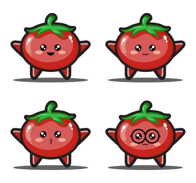 귀여운 만화 토마토 귀여운 디자인 프리미엄