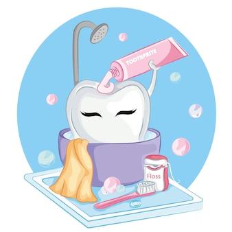 Милый мультипликационный персонаж зуба, держащий зубную пасту. концепция стоматологической помощи