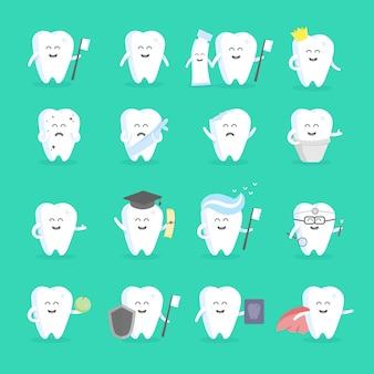 顔、目、手で設定されたかわいい漫画歯キャラクター。クリニック、歯科医、ポスター、看板、ウェブサイトの人物向け