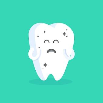 顔、目、手でかわいい漫画の歯のキャラクター。クリニック、歯科医、ポスター、看板、ウェブサイトの人物のコンセプト。