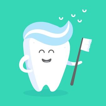 Милый мультипликационный персонаж зуба с лицом, глазами и руками. концепция персонажа клиник, стоматологов, плакатов, вывесок, веб-сайтов.