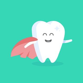 얼굴, 눈, 손을 가진 귀여운 만화 치아 캐릭터. 진료소, 치과 의사, 포스터, 간판, 웹 사이트의 인물에 대한 개념.
