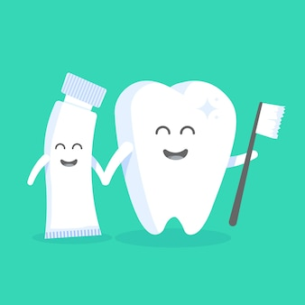 Cute cartoon tooth character with face, eyes and hands. the concept for the personage of clinics, dentists, posters, signage, web sites.