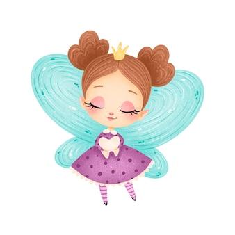Милый мультфильм зубная фея изолированные
