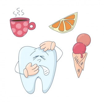 Cute cartoon tooth sensitive to hot, cold and sweet.