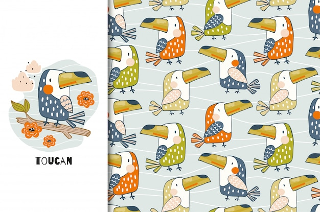 Cute cartoon toucan bird card and seamless pattern. hand drawn animal illustration