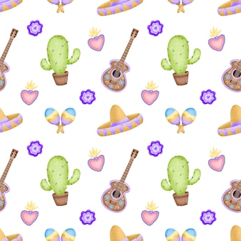 Милый мультфильм традиционный мексиканский бесшовные модели. кактус, сомбреро, гитара, цветы, маракасы, традиционное мексиканское сердце с огнем на белом фоне Premium векторы