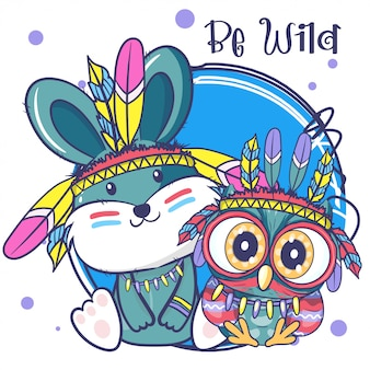 Cute cartoon tribal owl and bunny with feathers