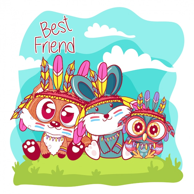 Cute cartoon tribal owl and fox and bunny with feathers