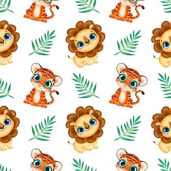 かわいい漫画の熱帯動物のシームレスなパターン。赤ちゃんライオンとトラのシームレスなパターン。