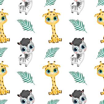 かわいい漫画の熱帯動物のシームレスなパターン。キリン、シマウマ、ヤシの葉のシームレスなパターン。