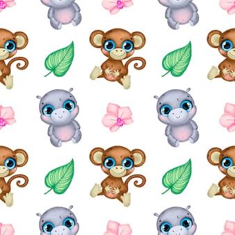 かわいい漫画の熱帯動物のシームレスなパターン。猿、カバ、蘭の花、熱帯の葉のシームレスなパターン。
