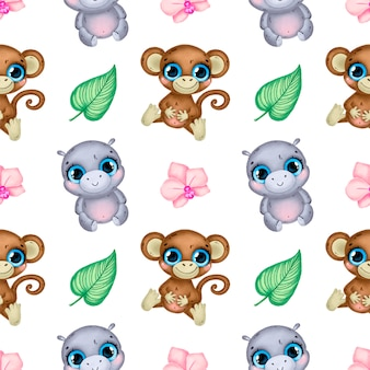 Cute cartoon tropical animals seamless pattern. monkey, hippo, orchid flowers and tropical leaves seamless pattern.