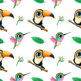 Cute cartoon tropical animals seamless pattern. toucan, hummingbird and tropical leaves. tropical birds seamless pattern.