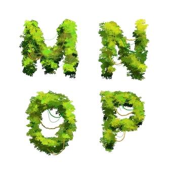かわいい漫画の熱帯ブドウの木や茂みのフォント、mnopグリフ