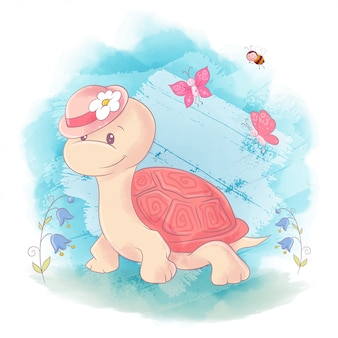 Cute cartoon turtle on a blue watercolor background
