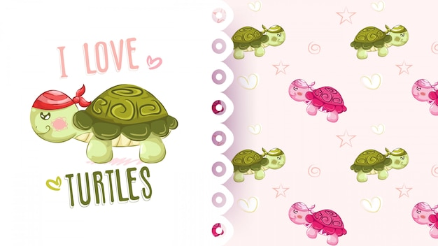 Cute cartoon turtle in a red and blue pattern