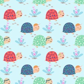 Cute cartoon turtle seamless pattern