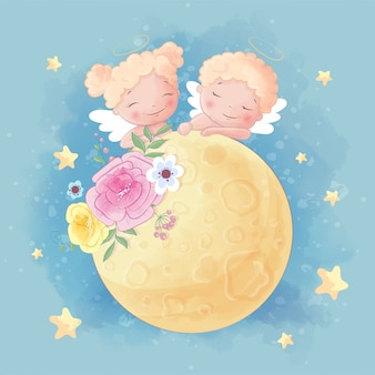 Cute cartoon two angels boy and girl on the moon with beautiful flowers